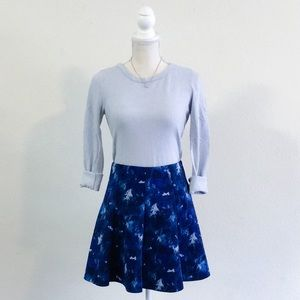 Forever 21 Blue Abstract Circle Skirt